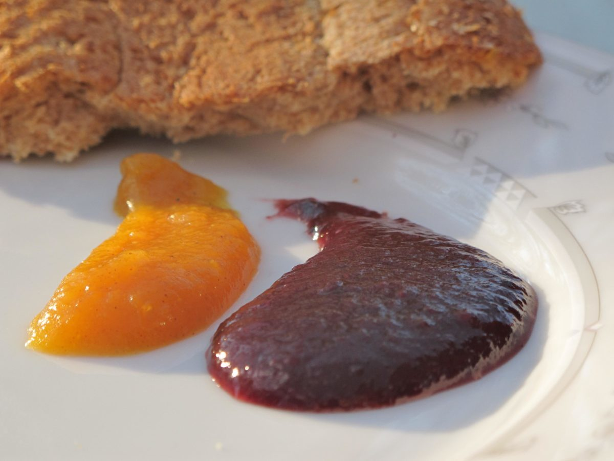 Plum Amaretto butter spread on plate to show silky texture