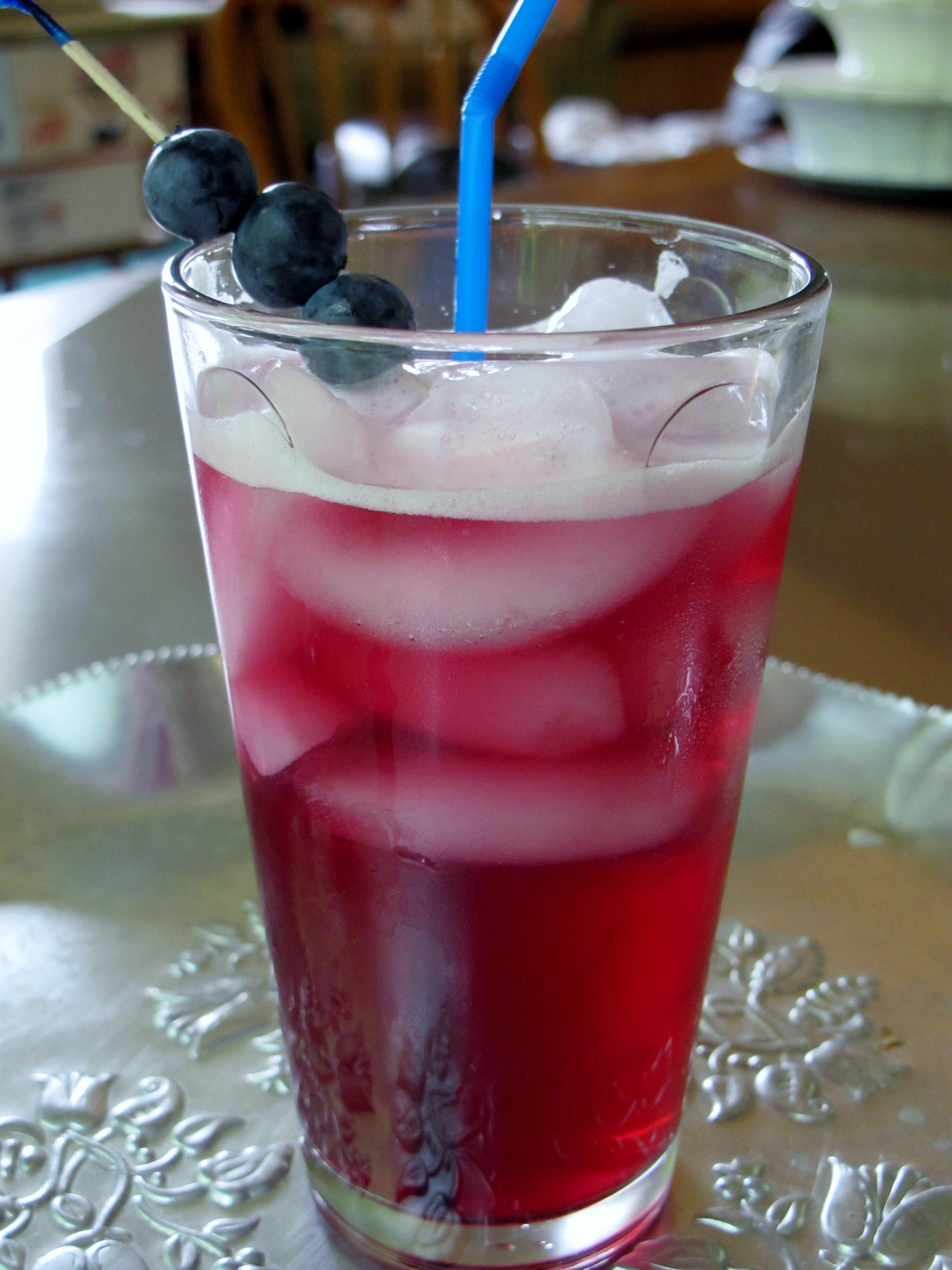Blueberry Pomegranate Syrup with Sparkling Water