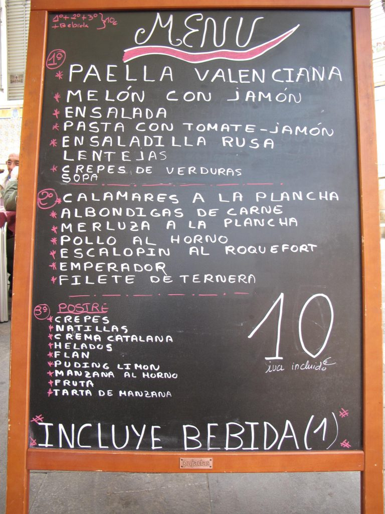 IMG 2245menu at Mercado Centrum 768x1024 Spain, Valencia inland to Teurel:  Lessons Learned and Food Enjoyed   Day 3