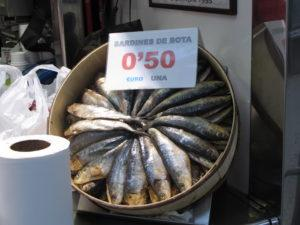 IMG 2272 sardines in mercado central 300x225 Spain, Valencia inland to Teurel:  Lessons Learned and Food Enjoyed   Day 3