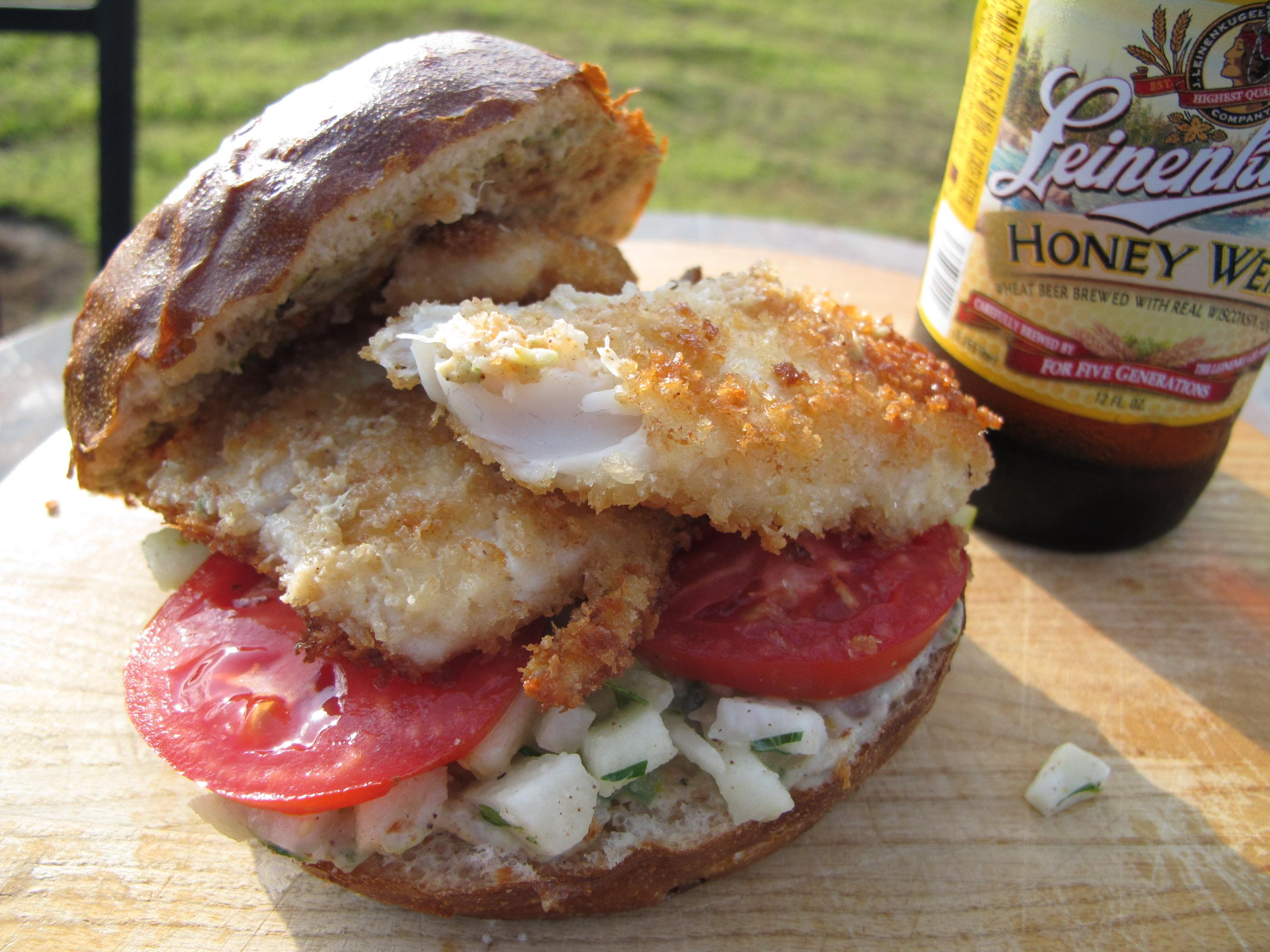 Fish sandwich with outstanding jerk jicama slaw from jason for Fish sandwich recipe