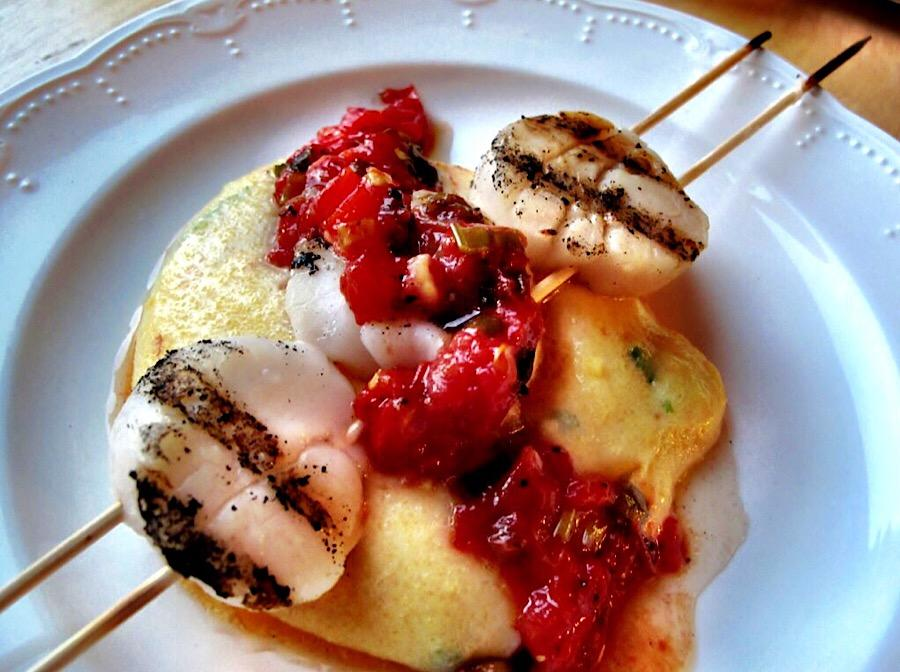 Scallops and Heirloom Tomato Jam over Polenta