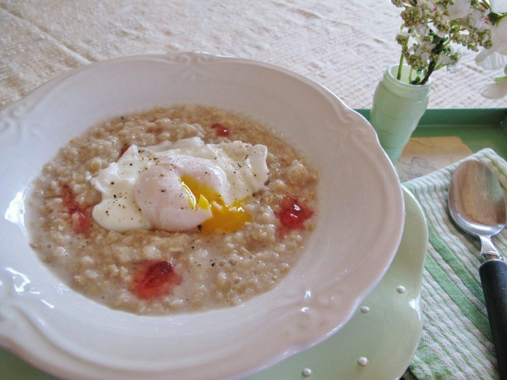 Oatmeal with Hot Pepper Jelly & Poached Egg