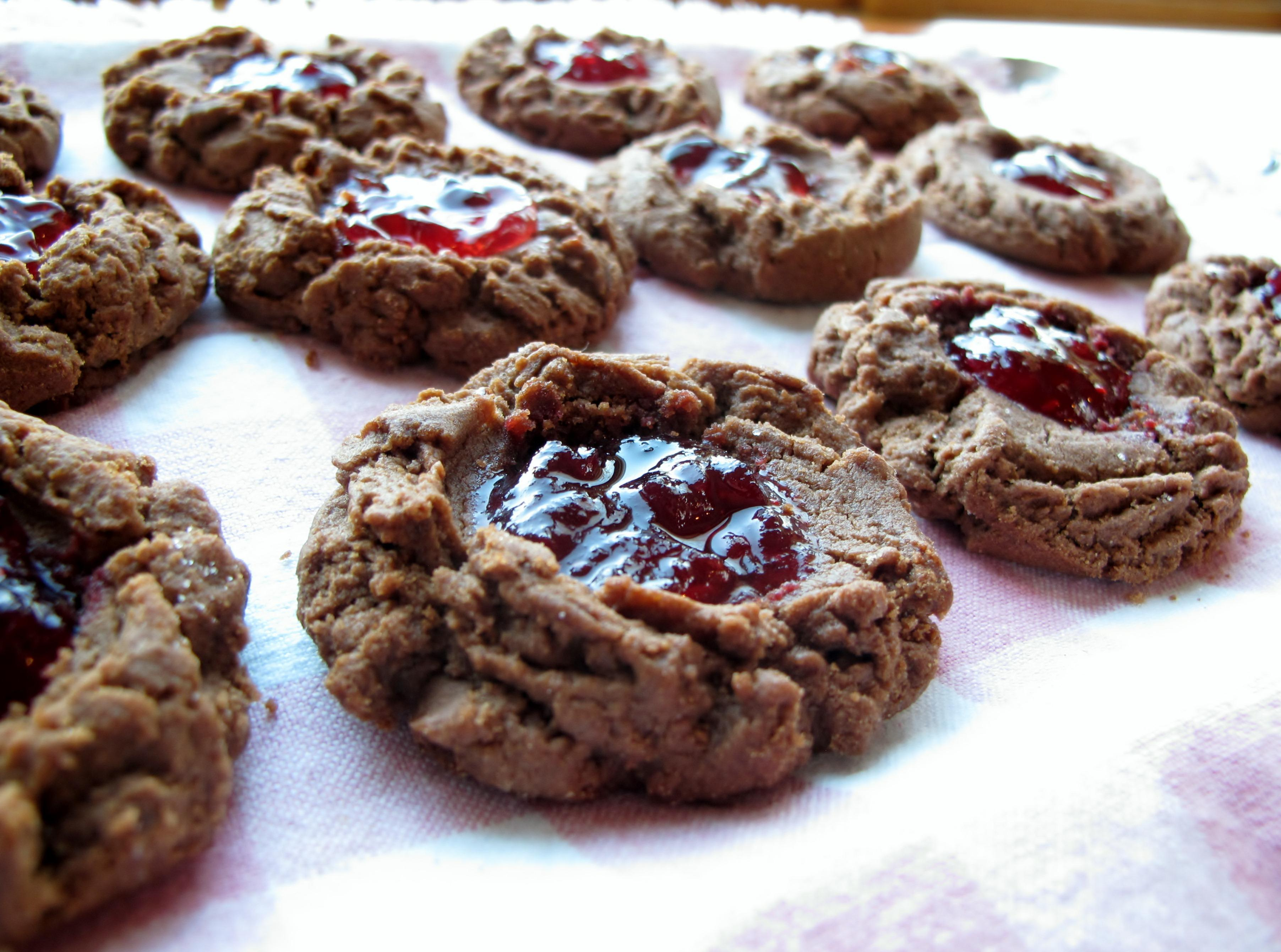 Peanut Butter & Chocolate Thumbprints with Raspberry Chambord Jam ...