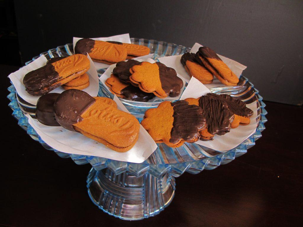 Tray of Marmalade-Filled, Chocolate-Dipped Cookies