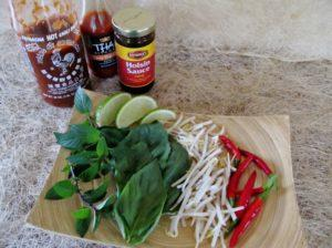 Pho accompaniments for the table