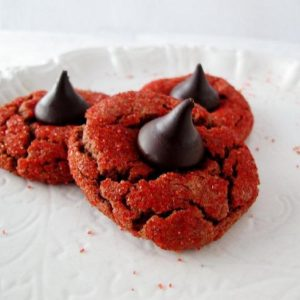 Red velvet peanut butter blossom cookies for Valentines care packages