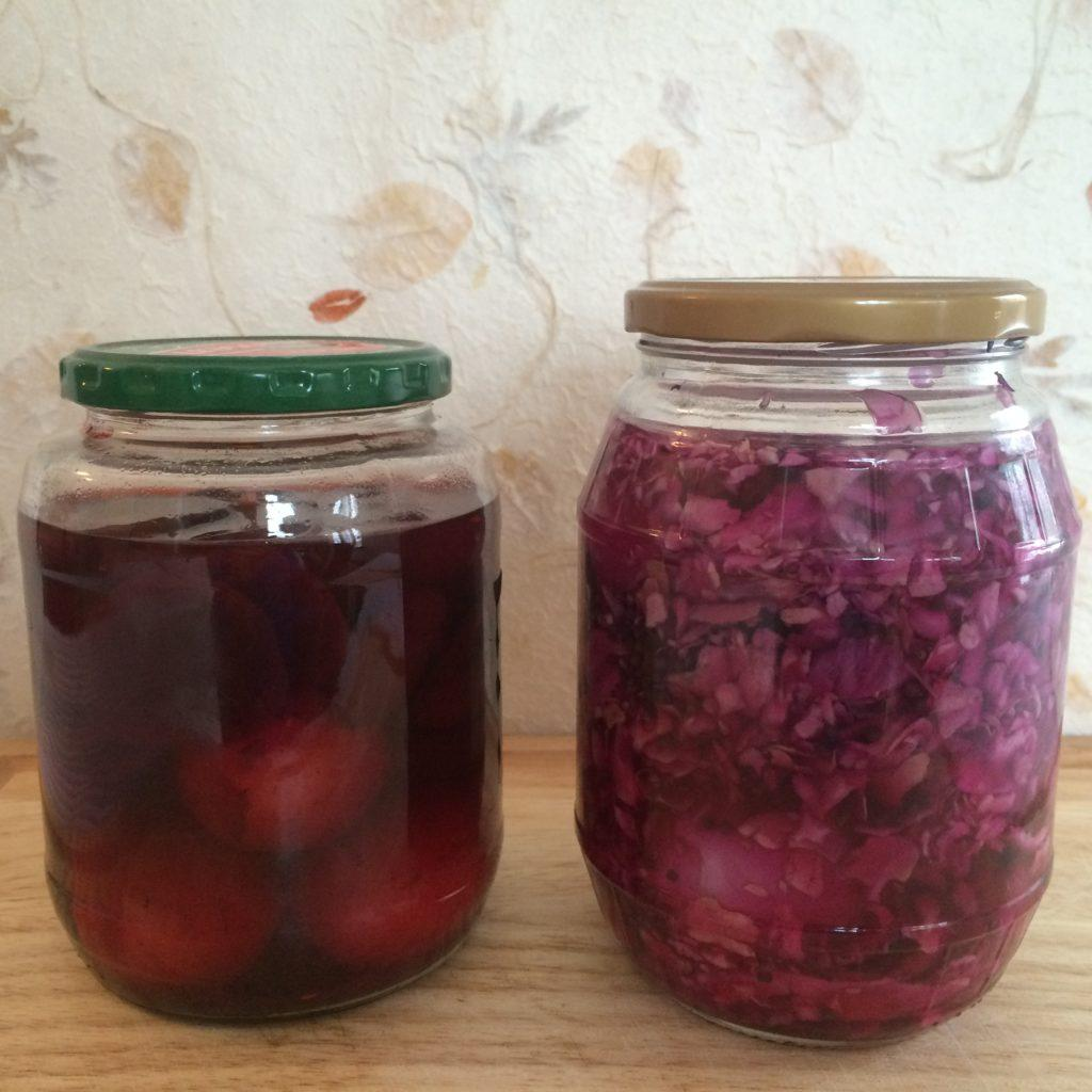 Red Pickled Eggs in jars