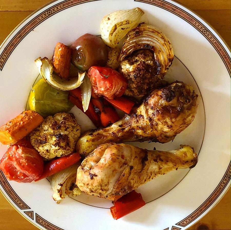 low carb harissa chicken dinner made from a traybake or sheetpan approach