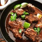 Low carb Mexican braised short ribs in a skillet
