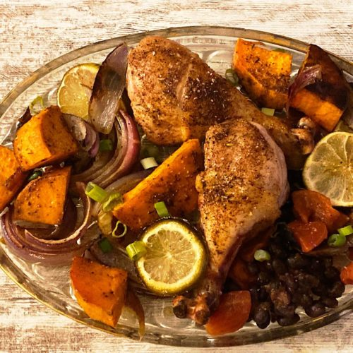 Jerk chicken sheet pan dinner