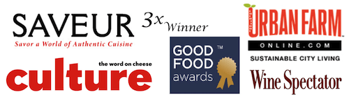 accolades from Saveur, Culture, Good Food Awards, Urban Famr, and Wine Spectator