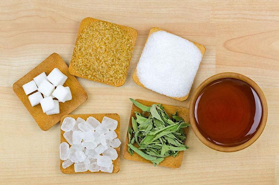 Examples of various types of sugar and sugar alternatives