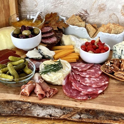 Low carb cheese board- an example of ingredients