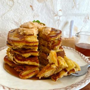 High protein pancakes with kimchi and savory topping